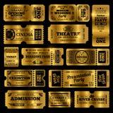 Цирк, партия и кино vector винтажные шаблоны билетов допущения Золотые билеты изолированные на черной предпосылке бесплатная иллюстрация
