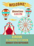 Цирк плаката приходит к городку иллюстрация вектора