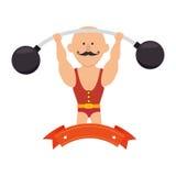 цирк сильного человека с поднятием тяжестей иллюстрация вектора