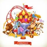 Цирк, смешные животные вектор 3d иллюстрация вектора