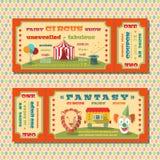 Цирк снабжает шаблон билетами Стоковое Фото