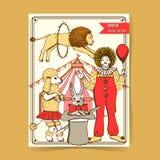 Цирк эскиза в винтажном стиле бесплатная иллюстрация