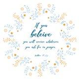Цитата библии, дизайн лист венка, иллюстрация вектора Текст: Стоковое Фото