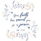Цитата библии, дизайн лист венка, иллюстрация Иллюстрация вектора