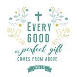 Цитата библии, дизайн лист венка, иллюстрация Иллюстрация штока