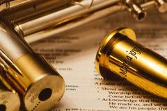 Цитата библии на мундштуке трубы Стоковые Изображения RF