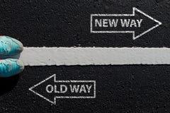Цитата воодушевленности: Путь нового пути старый на виде с воздуха runnin стоковое фото