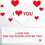 Цитата влюбленности - я тебя люблю Можете вы пожалуйста полюбить меня слишком? Стоковые Фото
