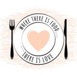 Цитата еды родственная типографская Стоковая Фотография RF