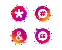Цитата, значки сноски звездочки Символ Hashtag вектор бесплатная иллюстрация