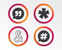 Цитата, значки сноски звездочки Символ Hashtag иллюстрация штока