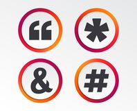 Цитата, значки сноски звездочки Символ Hashtag иллюстрация вектора