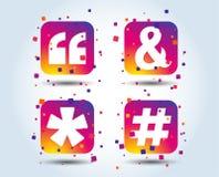 Цитата, значки сноски звездочки Символ Hashtag бесплатная иллюстрация