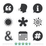 Цитата, значки сноски звездочки Символ Hashtag Стоковое Фото