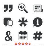 Цитата, значки сноски звездочки Символ Hashtag Стоковая Фотография