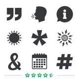 Цитата, значки сноски звездочки Символ Hashtag Стоковые Фотографии RF