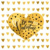 Цитата золотой фольги вектора рукописная помечая буквами моя картина золота сердец дня Святого Валентина текста каллиграфии Вален стоковое изображение