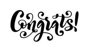 Цитата литерности руки Congrats Нарисованное рукой современное слово congrats каллиграфии щетки Иллюстрация текста вектора иллюстрация штока