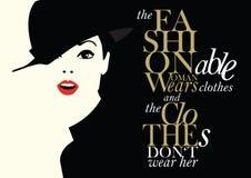 Цитата моды с женщиной моды Стоковые Изображения RF