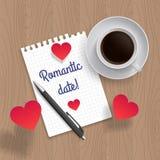 Цитата: Романтичная дата также вектор иллюстрации притяжки corel Стоковая Фотография RF