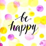 Цитата современной каллиграфии вдохновляющая - счастливый Стоковая Фотография RF