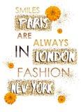 Цитаты и цветки вектора футболки яркого блеска конструируют для одеяний, Стоковая Фотография RF