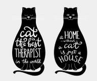 Цитаты кота помечая буквами комплект на силуэте котов Стоковые Изображения RF