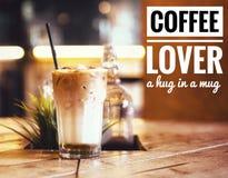 Цитаты кофе для любовника кофе Стоковое Изображение