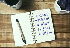 Цитаты - цель без плана как раз желание Стоковое Изображение