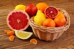 Цитрусовые фрукты - апельсины, лимоны, tangerines, грейпфрут Стоковые Фото