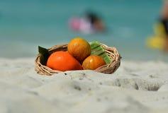 Цитрусовые фрукты на песке пляжа Стоковое Изображение