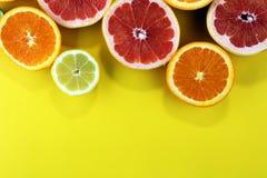 Цитрусовые фрукты с апельсином, лимоном, грейпфрутом и известкой Стоковые Изображения RF