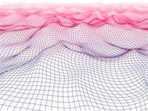 цифровая сетка волны цвета 3D Футуристическая концепция вектора иллюстрация штока