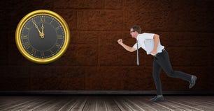 Цифровое изображение бизнесмена бежать поздно с часами Стоковая Фотография