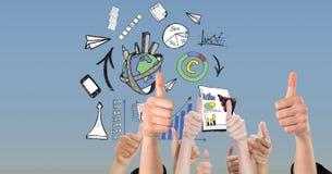 Цифровое изображение рук показывать большие пальцы руки вверх против различных символов Стоковая Фотография RF