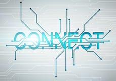 Цифровое изображение соединяет концепцию слова с микросхемой цепи Стоковое Изображение