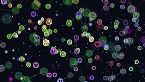 Цифров, анимация потребителей конспекта сети, интернет-сообщество движения графическая видео-, знамена летая, значки Vimeo иллюстрация штока