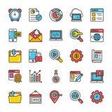 Цифров и значки вектора маркетинга интернета установили 6 иллюстрация штока