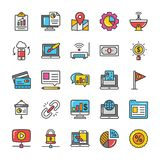 Цифров и значки вектора маркетинга интернета установили 8 иллюстрация вектора