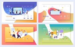 Цифров рекламируя выходя на рынок набор страницы посадки Концепция связи характера дела социальная Онлайн стратегия средств массо иллюстрация вектора