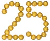 Цифр 25, двадцать пять, от декоративных шариков, изолированных на whit стоковая фотография