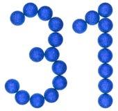 Цифр 31, 30 одних, от декоративных шариков, изолированных на белизне стоковая фотография rf