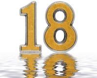 Цифр 18, 18, отраженное на изолированной поверхности воды, Стоковые Изображения