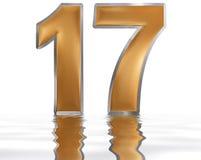 Цифр 17, 17, отраженное на поверхности воды, Стоковая Фотография RF