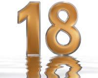 Цифр 18, 18, отраженное на поверхности воды, o Стоковое Изображение