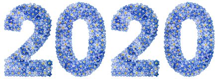 Цифр 2020 от голубых цветков незабудки, изолированных на белизне Стоковая Фотография RF
