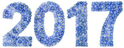Цифр 2017 от голубых цветков незабудки, изолированных на белизне Стоковые Фотографии RF