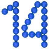 Цифр 14, 14, от декоративных шариков, изолированных на белом b Стоковые Изображения RF