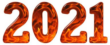 Цифр 2021 от стекла с абстрактной картиной пламенеющего fi Стоковая Фотография RF