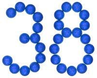 Цифр 38, тридцать восемь, от декоративных шариков, изолированных на whi стоковые фотографии rf